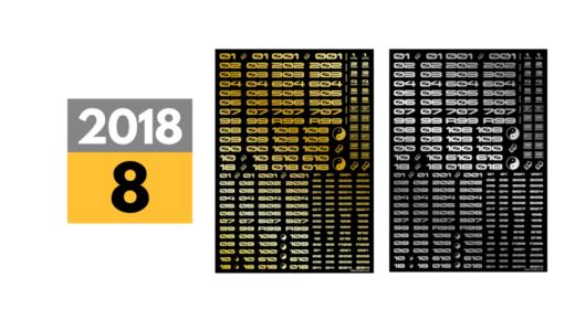 2018年7月中旬→8月中旬に延期発売予定「TRデカール3 ナンバー&アルファベット 追加各2色4製品ゴールド・シルバー」